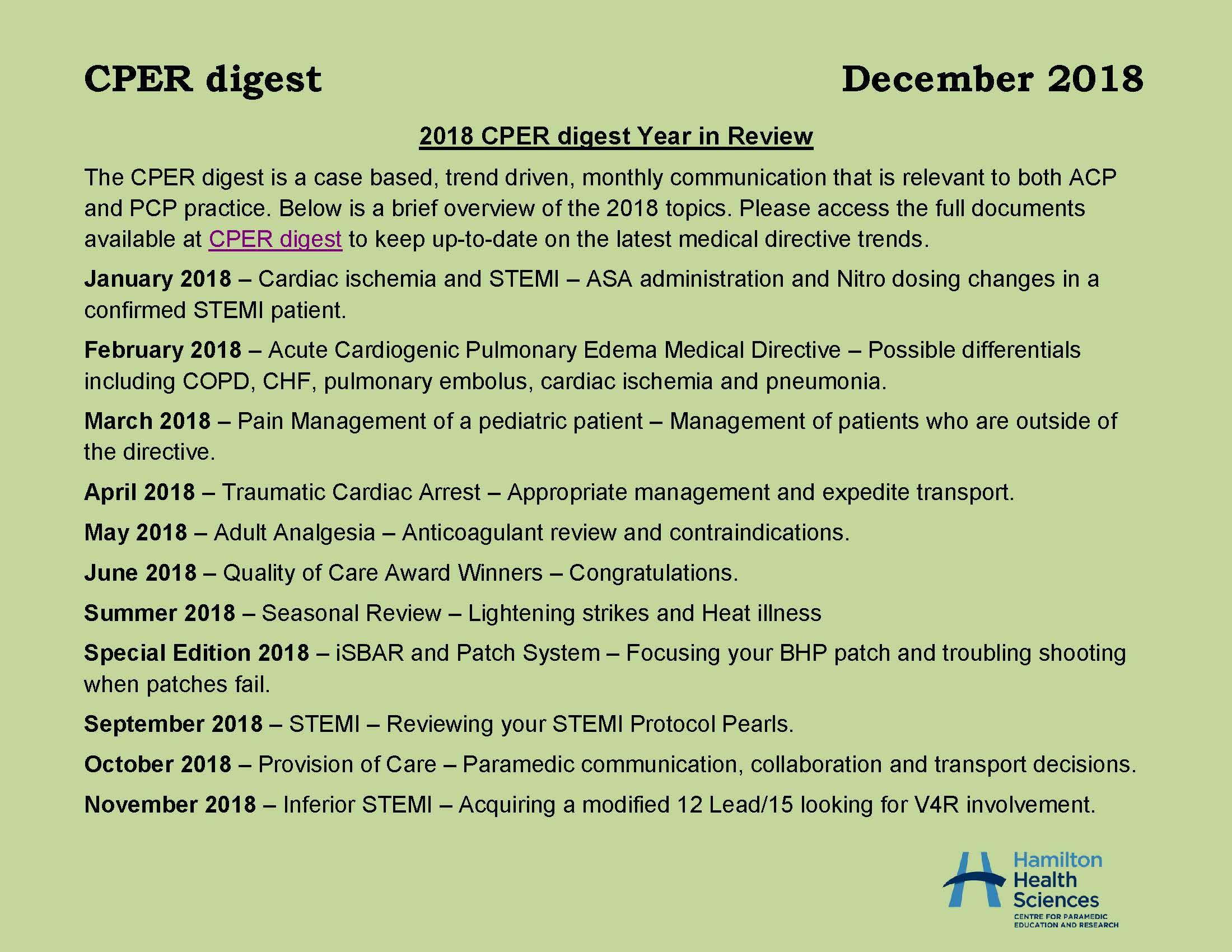 CPER digest December 2018